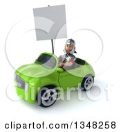 Clipart Of A 3d Young Male Roman Legionary Soldier Holding A Blank Sign And Driving A Green Convertible Car To The Left Royalty Free Illustration