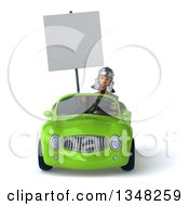 Clipart Of A 3d Young Male Roman Legionary Soldier Holding A Blank Sign And Driving A Green Convertible Car Royalty Free Illustration