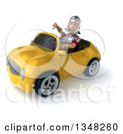 Clipart Of A 3d Young Male Roman Legionary Soldier Giving A Thumb Down And Driving A Yellow Convertible Car To The Left Royalty Free Illustration