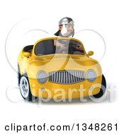 Clipart Of A 3d Young Male Roman Legionary Soldier Driving A Yellow Convertible Car Royalty Free Illustration