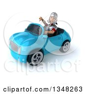 Clipart Of A 3d Young Male Roman Legionary Soldier Giving A Thumb Down And Driving A Blue Convertible Car To The Left Royalty Free Illustration