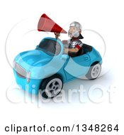 Clipart Of A 3d Young Male Roman Legionary Soldier Using A Megaphone And Driving A Blue Convertible Car To The Left Royalty Free Illustration