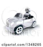Clipart Of A 3d White And Blue Robot Driving A White Car To The Left Royalty Free Illustration