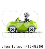 Clipart Of A 3d White And Blue Robot Driving A Green Car To The Left Royalty Free Illustration