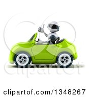Clipart Of A 3d White And Blue Robot Giving A Thumb Up And Driving A Green Car To The Left Royalty Free Illustration