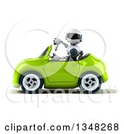 Clipart Of A 3d White And Blue Robot Giving A Thumb Down And Driving A Green Car To The Left Royalty Free Illustration