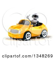 Clipart Of A 3d White And Blue Robot Giving A Thumb Up And Driving A Yellow Car To The Left Royalty Free Illustration