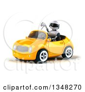 Clipart Of A 3d White And Blue Robot Giving A Thumb Down And Driving A Yellow Car To The Left Royalty Free Illustration