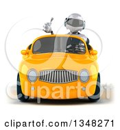 Clipart Of A 3d White And Blue Robot Giving A Thumb Up And Driving A Yellow Car Royalty Free Illustration