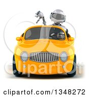 Clipart Of A 3d White And Blue Robot Giving A Thumb Down And Driving A Yellow Car Royalty Free Illustration