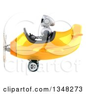 Clipart Of A 3d White And Blue Robot Aviator Pilot Flying A Yellow Airplane To The Left Royalty Free Illustration