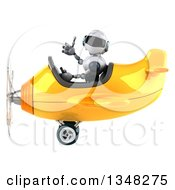 Clipart Of A 3d White And Blue Robot Aviator Pilot Giving A Thumb Up And Flying A Yellow Airplane To The Left Royalty Free Illustration