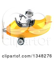 Clipart Of A 3d White And Blue Robot Aviator Pilot Giving A Thumb Down And Flying A Yellow Airplane To The Left Royalty Free Illustration