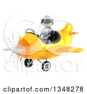 Clipart Of A 3d White And Blue Robot Aviator Pilot Flying A Yellow Airplane To The Left Royalty Free Illustration by Julos