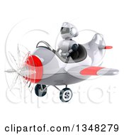 Clipart Of A 3d White And Blue Robot Aviator Pilot Flying A White And Red Airplane To The Left Royalty Free Illustration by Julos