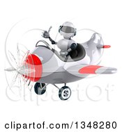 Clipart Of A 3d White And Blue Robot Aviator Pilot Giving A Thumb Up And Flying A White And Red Airplane To The Left Royalty Free Illustration by Julos