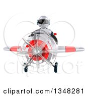 Clipart Of A 3d White And Blue Robot Aviator Pilot Flying A White And Red Airplane To The Left Royalty Free Illustration