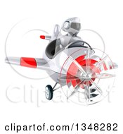 Clipart Of A 3d White And Blue Robot Aviator Pilot Flying A White And Red Airplane Royalty Free Illustration by Julos