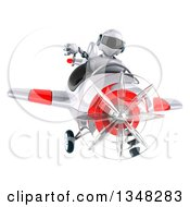 Clipart Of A 3d White And Blue Robot Aviator Pilot Giving A Thumb Down And Flying A White And Red Airplane Royalty Free Illustration by Julos