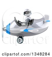 Clipart Of A 3d White And Blue Robot Aviator Pilot Flying An Airplane To The Left Royalty Free Illustration by Julos