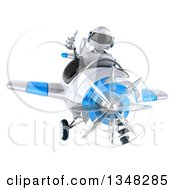 Clipart Of A 3d White And Blue Robot Aviator Pilot Giving A Thumb Up And Flying An Airplane Royalty Free Illustration by Julos