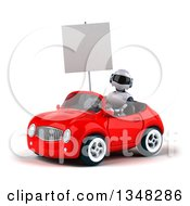 Clipart Of A 3d White And Blue Holding A Blank Sign And Robot Driving A Red Car To The Left Royalty Free Illustration by Julos