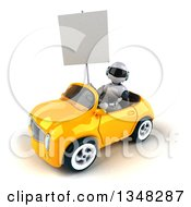 Clipart Of A 3d White And Blue Robot Holding A Blank Sign And Driving A Yellow Car To The Left Royalty Free Illustration by Julos