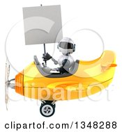 Clipart Of A 3d White And Blue Robot Aviator Pilot Holding A Blank Sign And Flying A Yellow Airplane To The Left Royalty Free Illustration by Julos