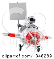 Clipart Of A 3d White And Blue Robot Aviator Pilot Holding A Blank Sign And Flying A White And Red Airplane Royalty Free Illustration by Julos