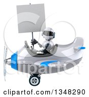 Clipart Of A 3d White And Blue Robot Aviator Pilot Holding A Blank Sign And Flying An Airplane To The Left Royalty Free Illustration by Julos