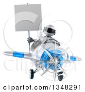 Clipart Of A 3d White And Blue Robot Aviator Pilot Holding A Blank Sign And Flying An Airplane Royalty Free Illustration by Julos