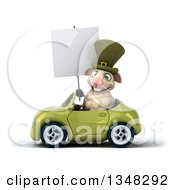 Clipart Of A 3d Irish Sheep Holding A Blank Sign And Driving A Green Convertible Car To The Left Royalty Free Illustration