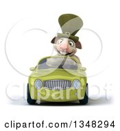 Clipart Of A 3d Irish Sheep Driving A Green Convertible Car Royalty Free Illustration