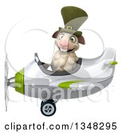 Clipart Of A 3d Irish Sheep Aviator Pilot Flying A White And Green Airplane To The Left Royalty Free Illustration