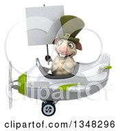 Clipart Of A 3d Irish Sheep Aviator Pilot Holding A Blank Sign And Flying A White And Green Airplane To The Left Royalty Free Illustration
