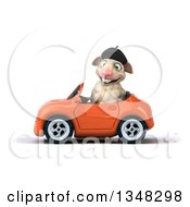 Clipart Of A 3d French Sheep Driving An Orange Convertible Car To The Left Royalty Free Illustration