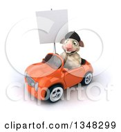 Clipart Of A 3d French Sheep Holding A Blank Sign And Driving An Orange Convertible Car To The Left Royalty Free Illustration