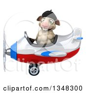 Clipart Of A 3d French Sheep Aviator Pilot Flying A White Red And Blue Airplane To The Left Royalty Free Illustration