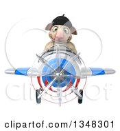 Clipart Of A 3d French Sheep Aviator Pilot Flying A White Red And Blue Airplane Royalty Free Illustration by Julos