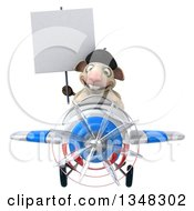 Clipart Of A 3d French Sheep Aviator Pilot Holding A Blank Sign And Flying A White Red And Blue Airplane Royalty Free Illustration