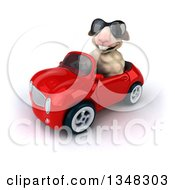 Clipart Of A 3d Sheep Wearing Sunglasses And Driving A Red Convertible Car To The Left Royalty Free Illustration