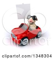 Clipart Of A 3d Sheep Wearing Sunglasses Holding A Blank Sign And Driving A Red Convertible Car To The Left Royalty Free Illustration