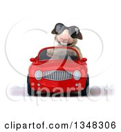 Clipart Of A 3d Sheep Wearing Sunglasses And Driving A Red Convertible Car Royalty Free Illustration