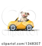 Clipart Of A 3d Sheep Driving A Yellow Convertible Car To The Left Royalty Free Illustration
