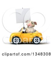 Clipart Of A 3d Sheep Holding A Blank Sign And Driving A Yellow Convertible Car To The Left Royalty Free Illustration