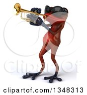 Clipart Of A 3d Red Springer Frog Wearing Sunglasses And Playing A Trumpet Royalty Free Illustration by Julos