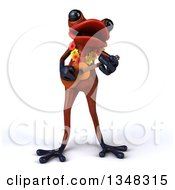 Clipart Of A 3d Red Springer Frog Wearing A Lei And Playing A Ukulele Royalty Free Illustration by Julos