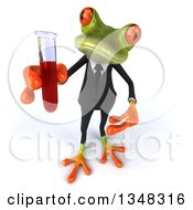 Clipart Of A 3d Green Business Frog Holding Up And Presenting A Test Tube Royalty Free Illustration