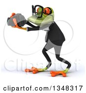 Clipart Of A 3d Bespectacled Green Business Frog Taking Pictures With A Camera Royalty Free Illustration