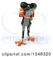 Clipart Of A 3d Green Business Frog Wearing Sunglasses And Taking Pictures With A Camera Royalty Free Illustration